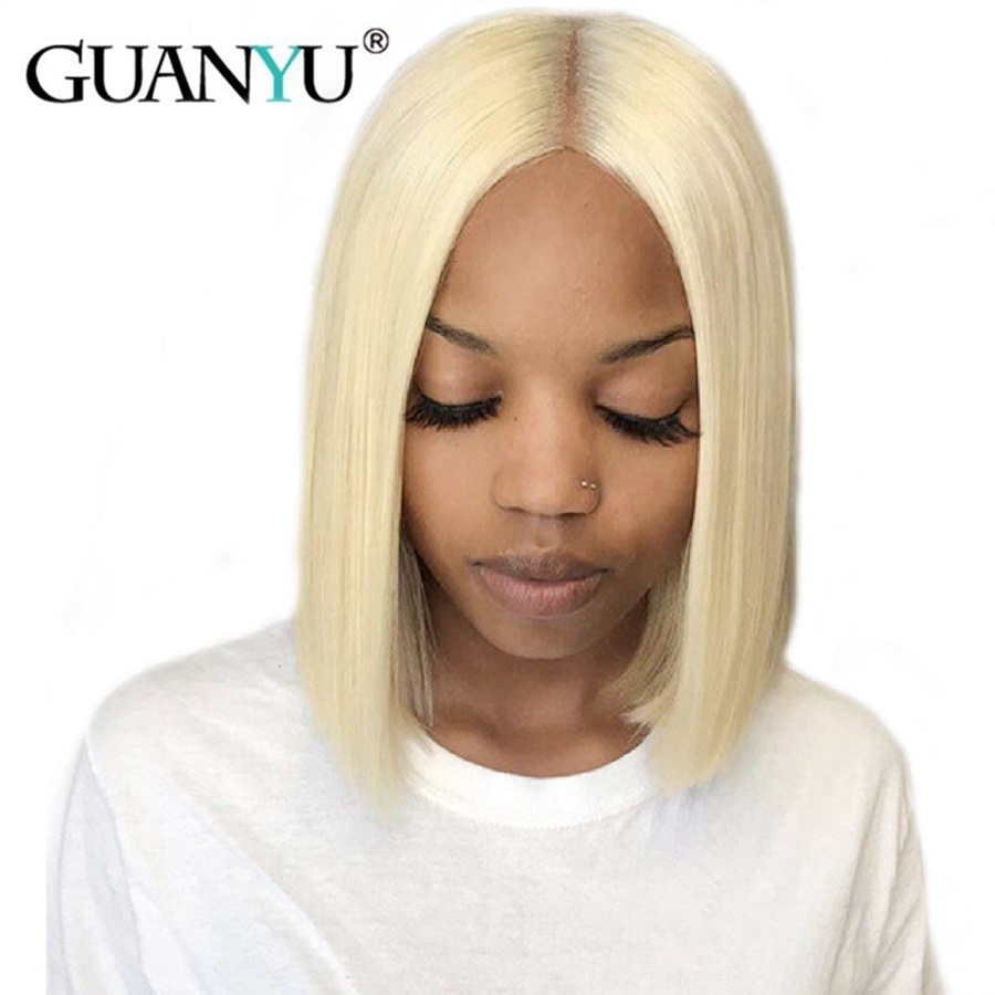 613 Blonde Lace Front Human Hair Wigs 150% Density Brazilian Short Bob Straight Remy Human Hair Wigs Pre plucke For Black Women(China)