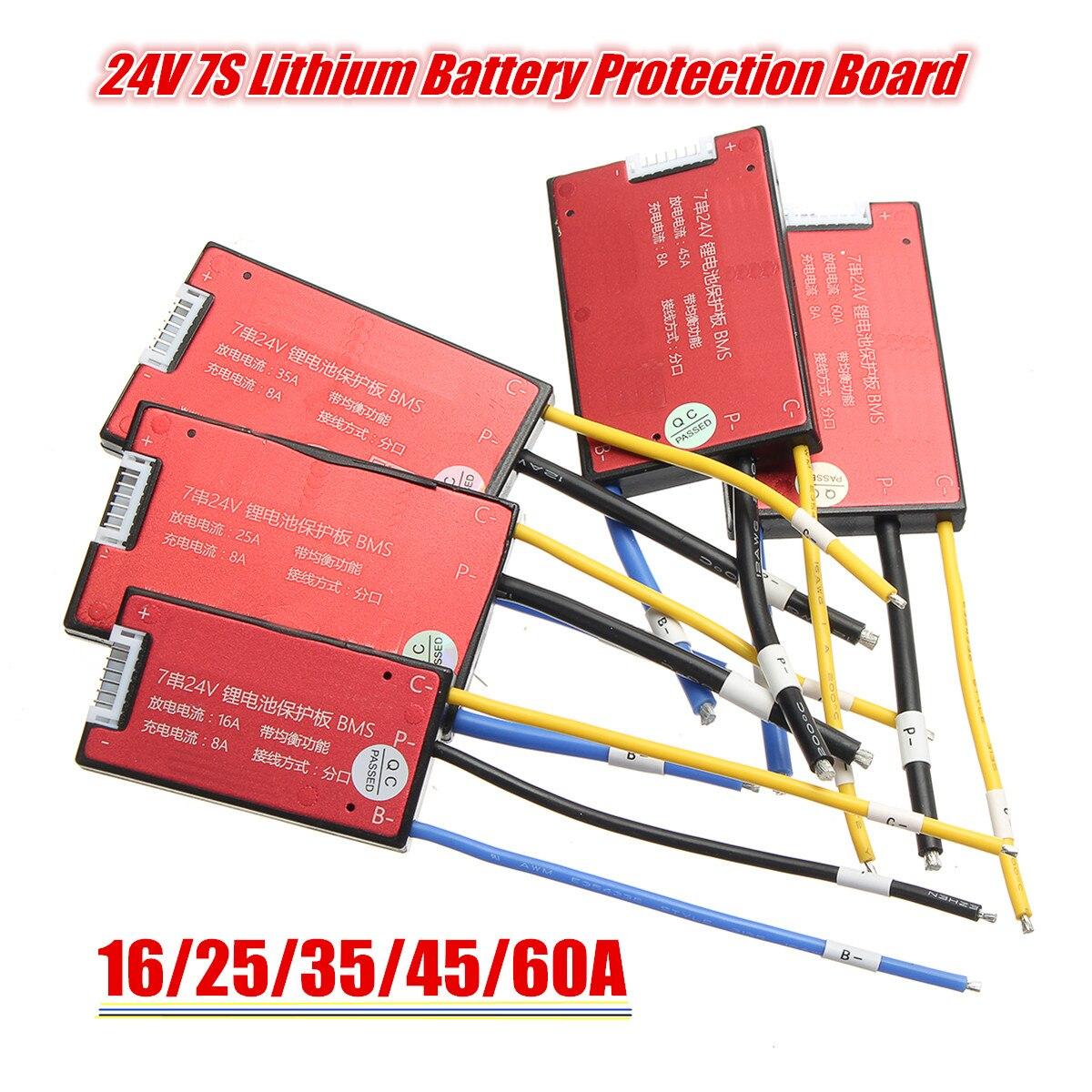 16 V/25A/35A/45A/60A 7 s 18650 Li-ion batería Lipolymer BMS PCM PCB batería protección para Ebike Ebicycle