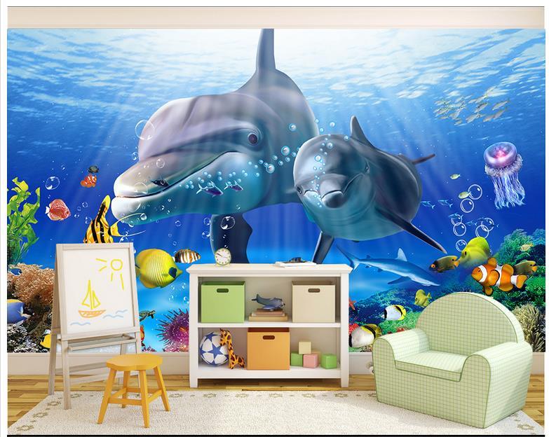 Custom 3d Wallpaper 3d Murals Wallpaper 3 D Cartoon Underwater World Dolphin Princess Children Background Wall Home Decoration
