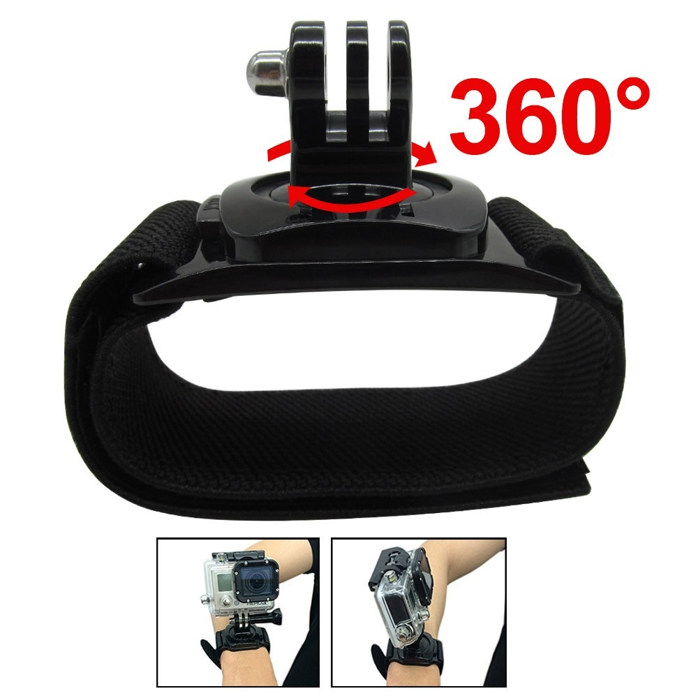 Gopro Accessories 360 Degrees Gopro Wrist Band Arm Shell Strap With Go pro Adapter Mount For Go Pro HD Hero3+ 3 2 Camera Case elastic wrist belt silicone protective case for gopro hero3 3 wi fi remote control blue
