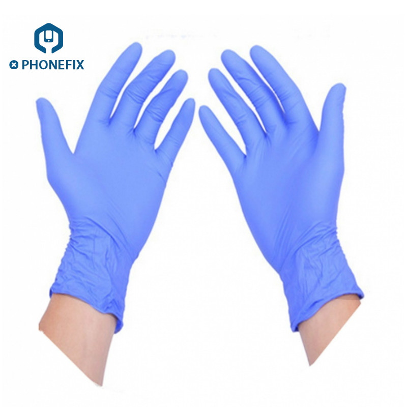 PHONEFIX Blue 10pcs /lot Anti Static Disposable Gloves Garden Waterproof Allergy Free Kitchen Medical ESD Work Safety Gloves