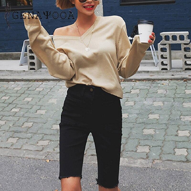 Genayooa Stretch Spandex Shorts Women Jeans Shorts Cotton Denim Short Feminino High Waist Knee Length Plus Size Korean Hotpants