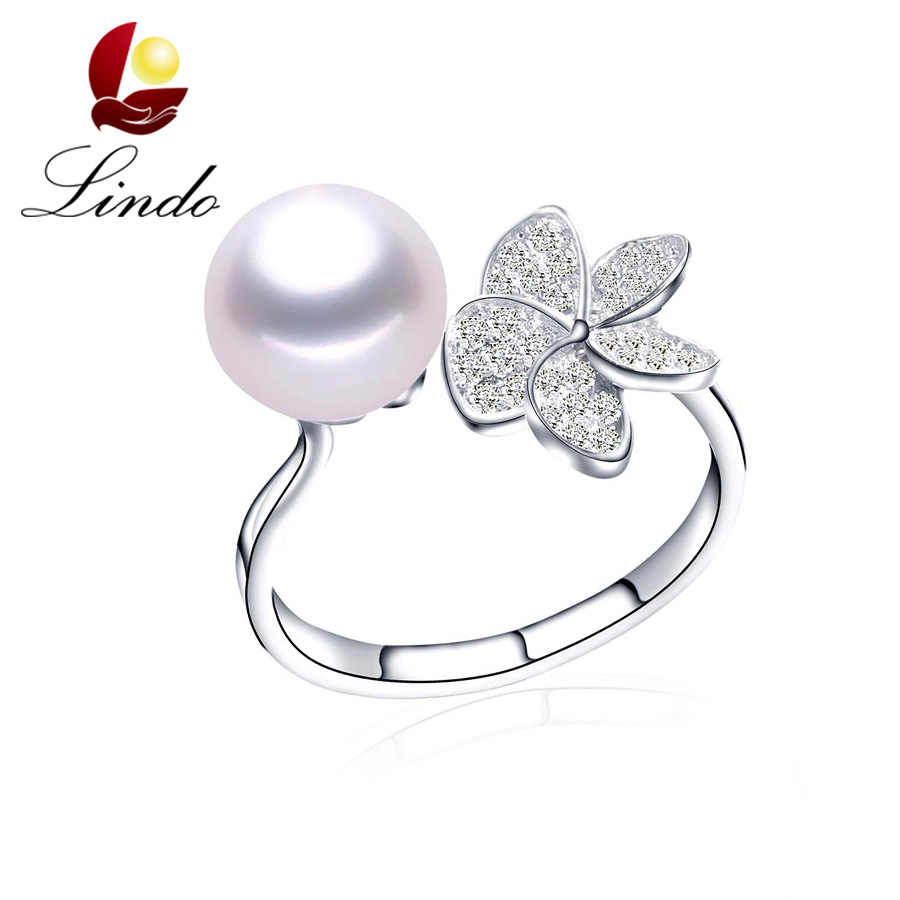 Sweet Girlfriend 925 Sterling Silver High Quality Real Natural Freshwater Pearl Rings Women Fashion Shiny Zircon Flower Jewelry