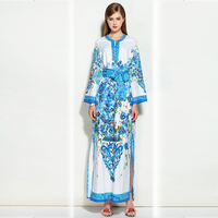 HIGH QUALITY Newest 2017 Designer Runway Maxi Dress Women S Long Sleeve Gorgeous Floral Printed Loose