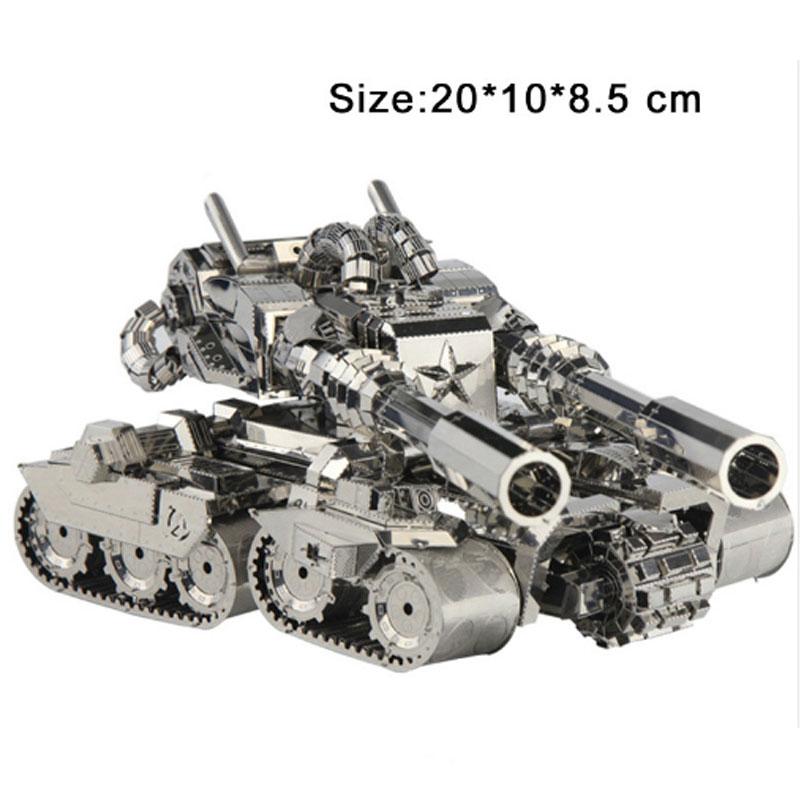 Modèle 3D de Puzzles en métal de réservoir d'apocalypse argenté pour des enfants d'adultes jouets éducatifs de Collection manuelle de puzzle de Rotation de 360 degrés