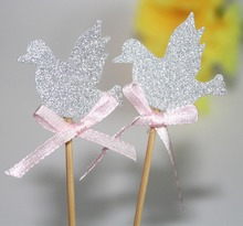 Girls Boys Christening 1st communion confirmation Decorations Baptism Dove pigeon Cupcake Toppers 24 CT