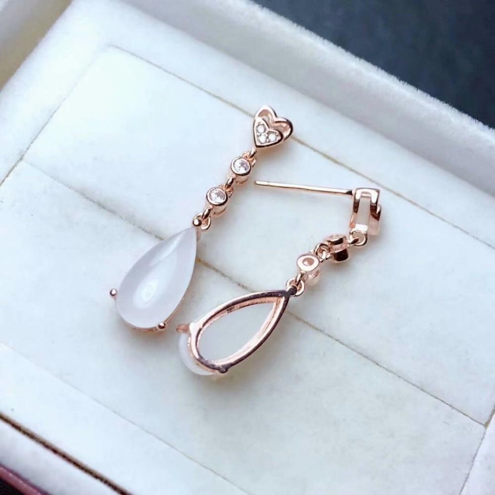 SHILOVEM 925 argent sterling naturel blanc Jade boucles d'oreilles classique bijoux fins femmes de mariage nouveau gros cadeau me061299aghby