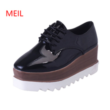 High Quality Pumps Women Platform Shoes for Women Black Brogues Derby Women's Oxfords Shoes Casual Ladies Wedges Shoes Loafers цена