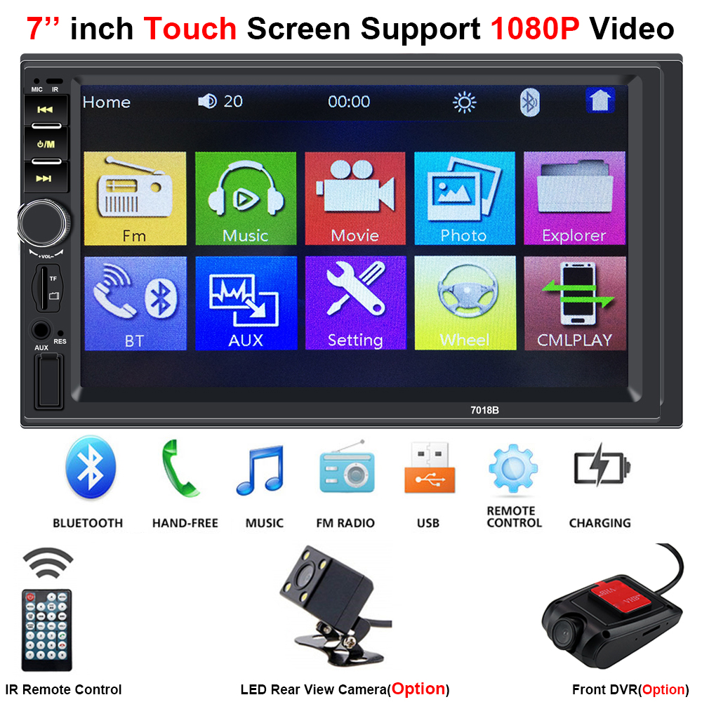 2 Din Central Multimidia Car Multimedia DVR Front Rear Camera 2Din 7'' Touch Screen Bluetooth Radio Music Movie Player Autoradio