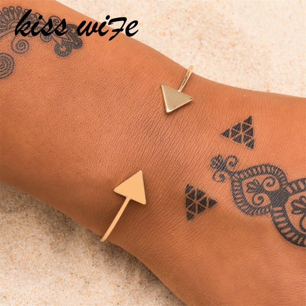 KISSWIFE Punk Arrow Bracelets & Bangles Fashion Gold Color Punk Open Bangle For Women Gift Cuff Bracelet