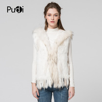 VR019 Free shipping women vest real natural rabbit vest fur with raccoon fur with hooded collar trimming waistcoat
