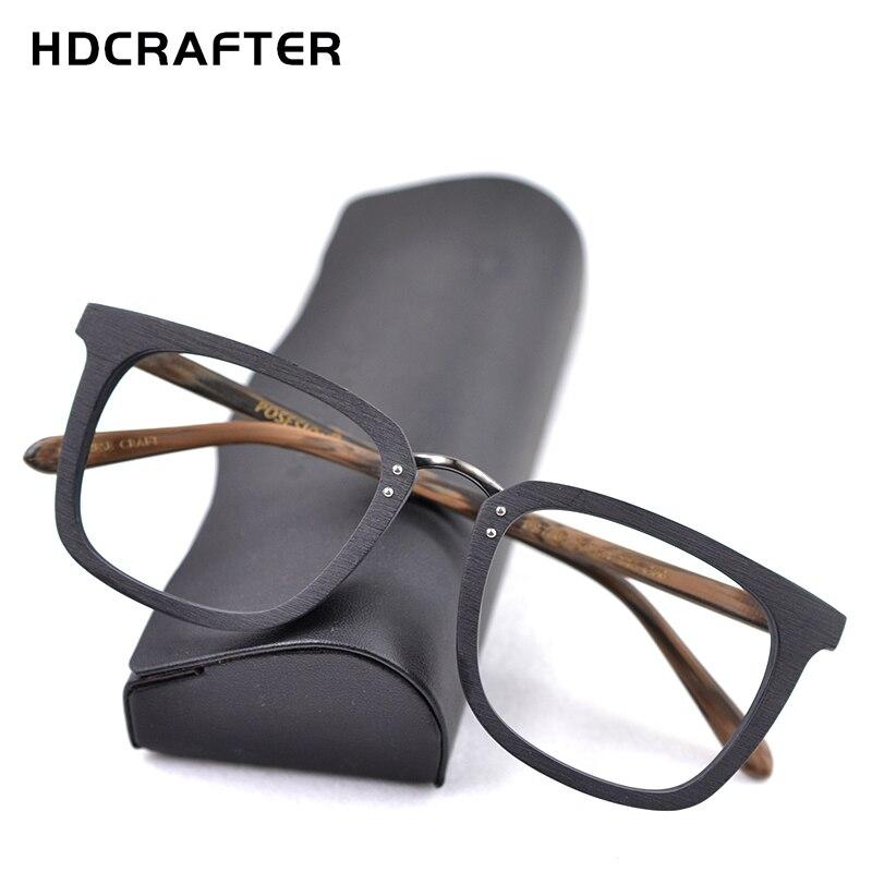 927d05fbd HDCRAFTER Homens Quadrado Miopia Prescrição Óculos de Armação Armações de  Óculos de Madeira 2019 de Madeira Masculino Full Frame Ótico Eyewear