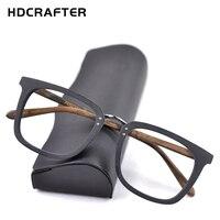 be4676e7572c2e HDCRAFTER Wood Glasses Frames Men Square Myopia Prescription Eyeglasses  Frame 2019 Male Wood Full Optical Frame