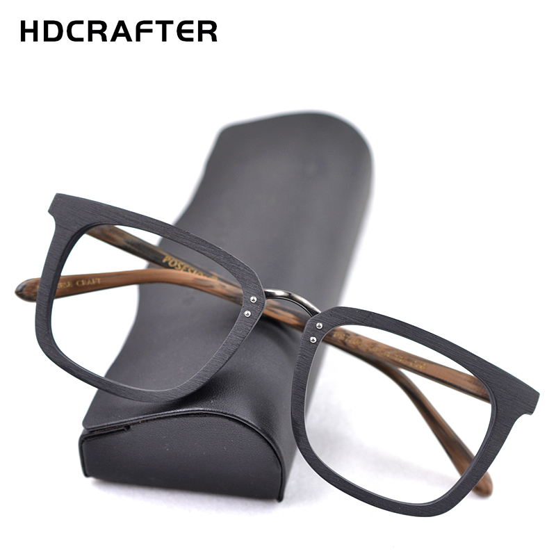 HDCRAFTER Wood Glasses Frames Men Square Myopia Prescription Eyeglasses Frame 2019 Male Wood Full Optical Frame Eyewear