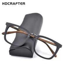 HDCRAFTER الخشب إطارات النظارات الرجال مربع قصر النظر وصفة النظارات الإطار 2019 الذكور الخشب كامل نظارات إطارات بصرية