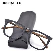 Hdcrafter armações de óculos de madeira miopia, quadrado, prescrição, masculino, ótico