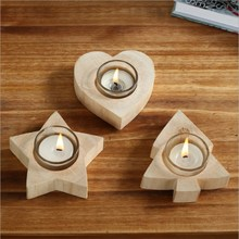 New Heart-shaped Candlestick Wooden Crafts Creative Gift Home Decoration Candle Handmade