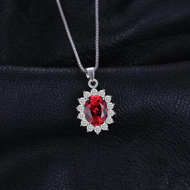 JewelryPalace Kate Princess Diana 2.5ct Natural Garnet Pendant 925 Sterling Sliver Pendants Necklaces Jewelry Without Chain