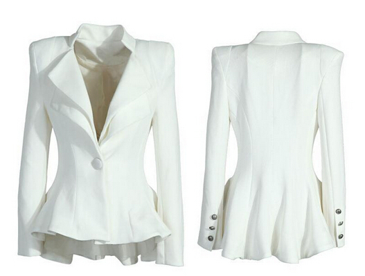 New Ladies Long Sleeve Frill Shift Fitted Low Back White Single ...