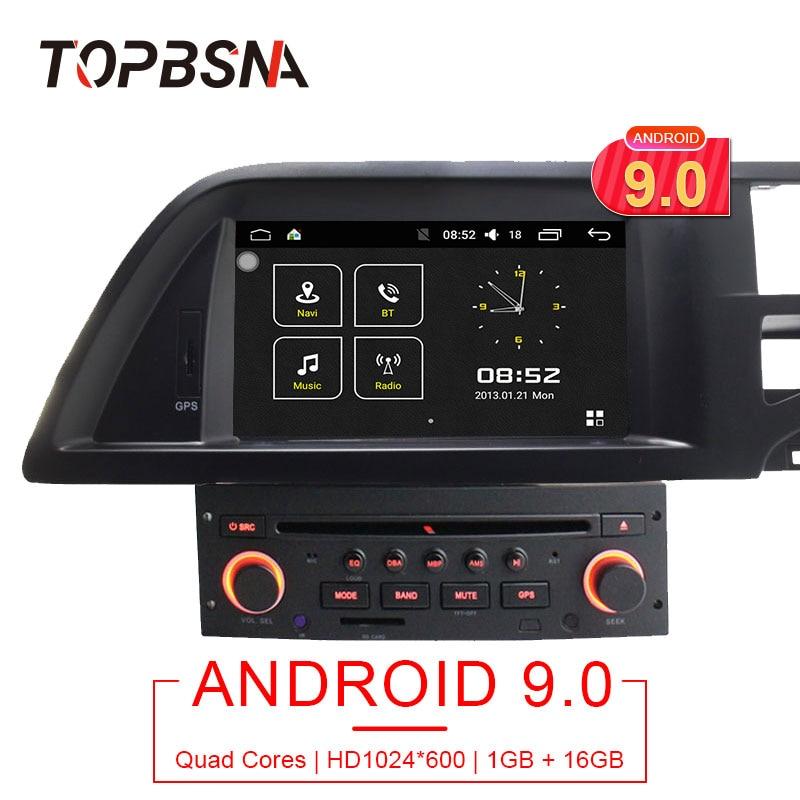 TOPBSNA 1 Din Android 9.0 Jogador Do Carro DVD Para Citroen C5 Multimedia Navegação GPS Rádio ligação Espelho WI-FI Quad Core GPS Navi RDS