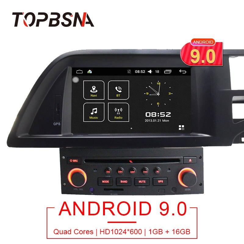 TOPBSNA 1 Din Android 9.0 Lettore DVD Dell'automobile Per Citroen C5 Multimediale di Navigazione GPS Radio collegamento Specchio WIFI Quad Core GPS Navi RDS