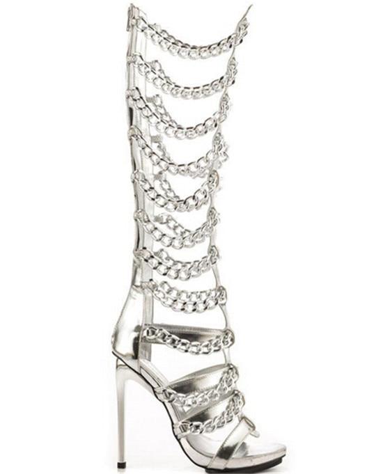 Sexy Golden Chains Women Knee High Boots Designer Leather Thin High Heels Gladiator Sandals Women Summer Boots Shoes Woman Botas (10)