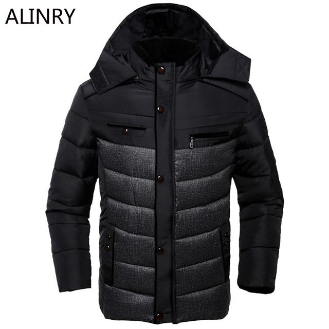 2017 hombres Recién llegado chaqueta de invierno negro de color caqui de algodón abrigo de invierno sólida capa encapuchada soft cozy estilo casual de negocios escudo