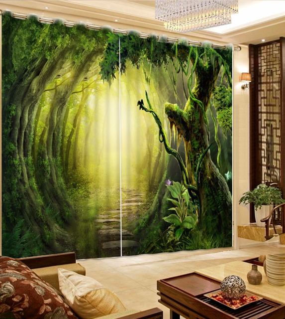 photo curtains customize 3d luxury curtains Primitive forest ...