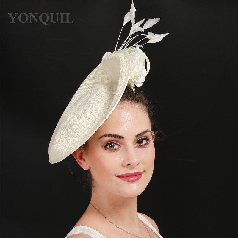 Бежевые свадебные аксессуары для волос Кентукки Дерби чародей головные уборы высокого качества имитация льняная Коктейльная шляпа с цветком SYF666