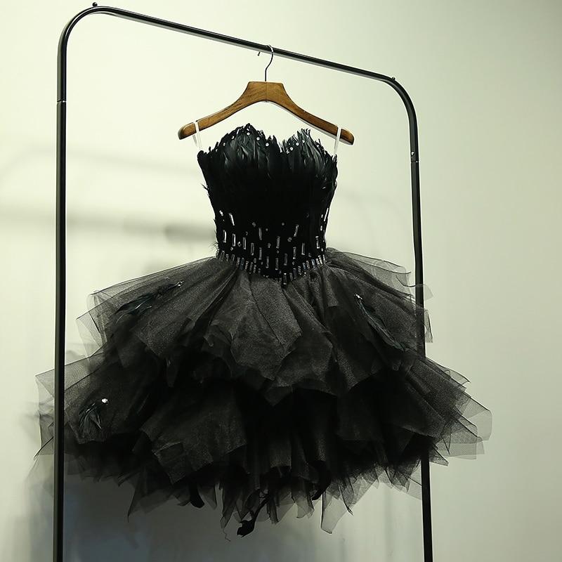 Robe De Soiree Black Ball Gown Princess StraplessProm Gowns Vestido De Festa Feather Short Bouquet Prom Dresses Evening Dress