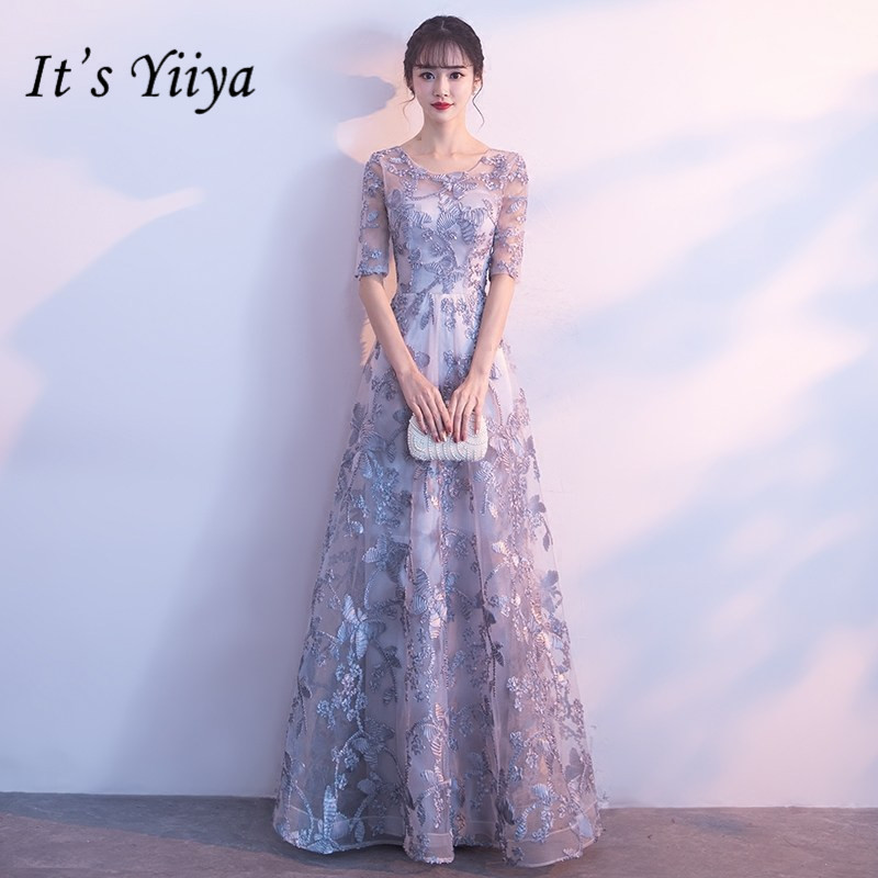 C'est YiiYa gris o-cou demi manches robes de demoiselle d'honneur élégantes Appliques cheville longueur Slim a-ligne robes H254