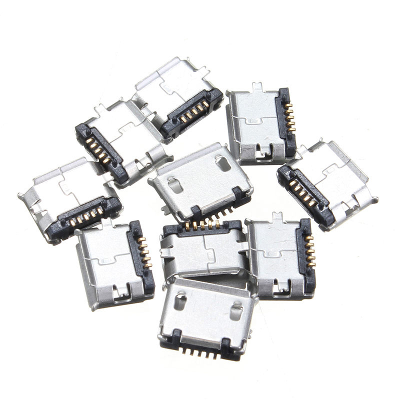 10Pcs Mini Micro USB 5pin B Type Female Jack Socket