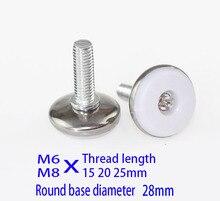 M6 M8X (20 25) Bu Lông chân tủ miếng lót vít Điều Chỉnh máy Ốp lưng Chân kim loại, thép không gỉ và nylon đồ lót tủ chân