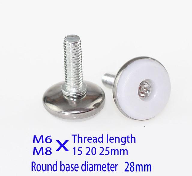 M6 M8X (20 25) الترباس مجلس الوزراء قدم سادة المسمار قابل للتعديل آلة حالة الساق المعدنية ، الصلب و النايلون الأثاث منصات دولاب الساق