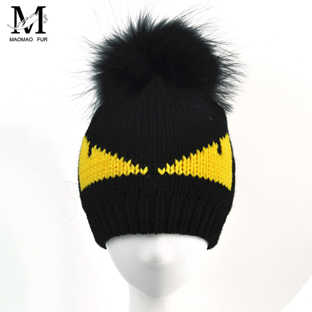 Women Real Raccoon Fur Pom Pom Hats Ladies Warm Wool Beanie Crochet Winter Knitted Monster Hats Natural Fur Pompons Beanie Hat