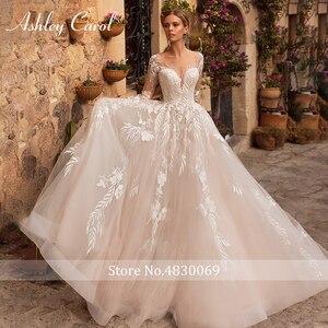 Image 3 - アシュリーキャロルセクシーな v ネックアップリケチュールウェディングドレス 2020 イリュージョン背中長袖プリンセス自由奔放に生きる花嫁レースのウェディングドレス