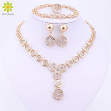 3Color Fashion Women Vintage Gold Color Necklace Earrings Bracelet Crystal Bridal Nigerian Wedding African Beads Jewelry Set