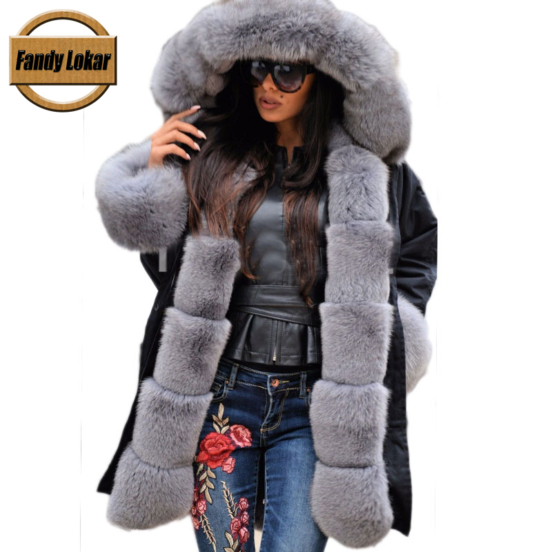 Gray Fox Fur Collar Hooded Coat Women Winter Real Rex Rabbit Fur Liner Loose Warm Jacket Women Vintage Fur Parka Female printed long raccoon fur collar coat women winter real rabbit fur liner hooded jacket women bomber parka female ladies fp896