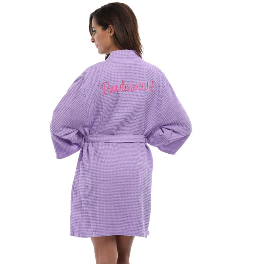 Waffle Weave Embroidered Bridesmaid Bride Robes Women Wedding Party ...