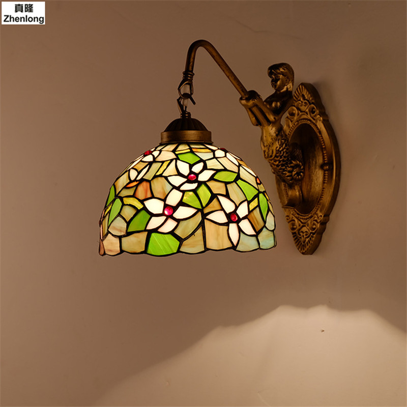 Stained Glass Wall Lamps Light Fixtures Wall Sconces for Living Room Mirror Front Lamp Bedside LED Mediterranean Wall Lights fumat stained glass table lamp high quality goddess lamp art collect creative home docor table lamp living room light fixtures