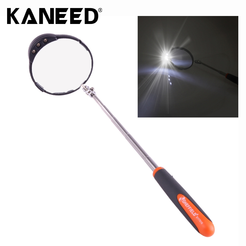 Retractable Vehicle Car Chassis Inspection Mirror with 3 PCS 5mm LED Lights, Mirror Diameter 82mm Max Expanding Length 760mm  цены