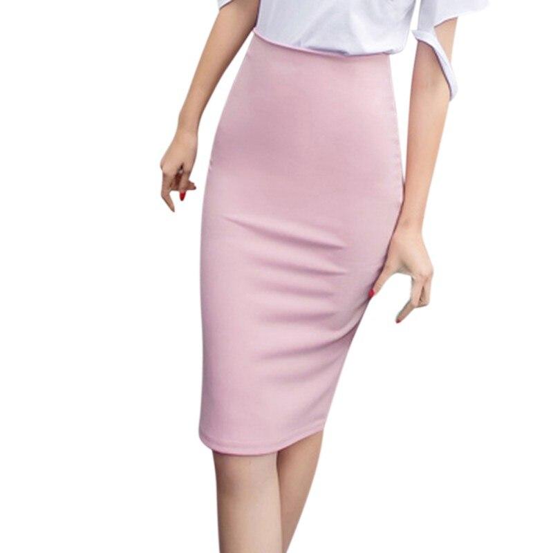 Summer Sexy Ladies Chiffon Pencil Skirts Midi High Waist Stretch Slim Casual Lady Office Work Wear Solid Color Women Skirt