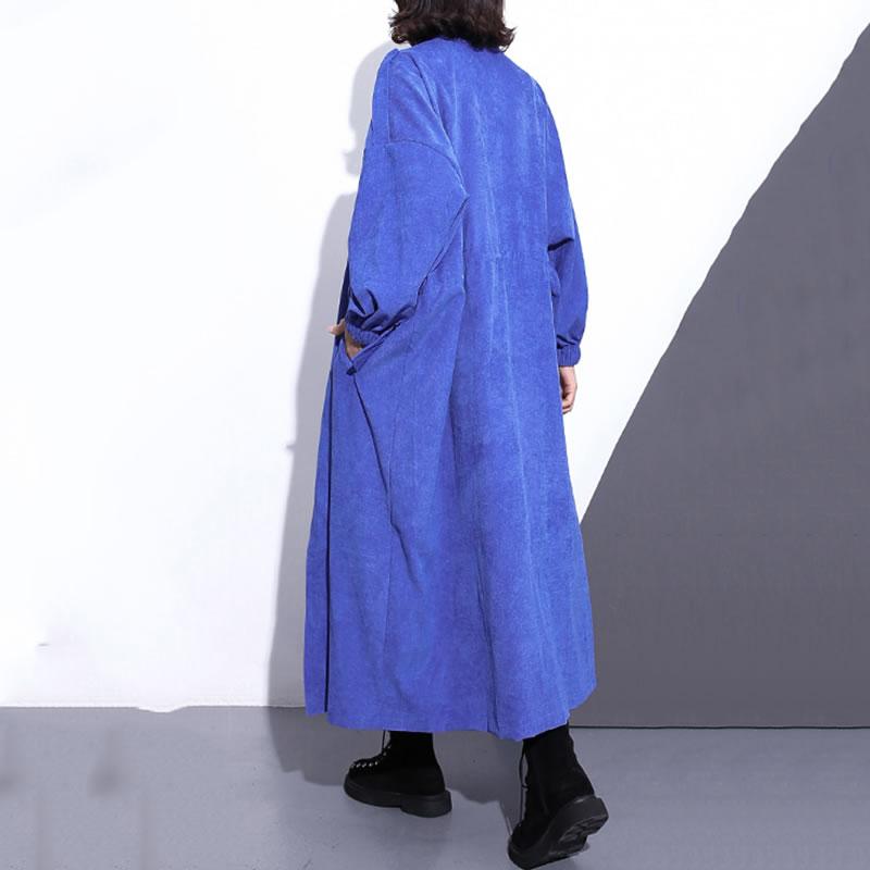 Taille Large Léopard Nouveau À Collar Automne Mode xitao Picture Tranchée Corée Zll1082 2018 Black blue see Manches Zll1082 Femmes Mandarin Femelle Zll1082 Pleine De Poche W0czzdwaq