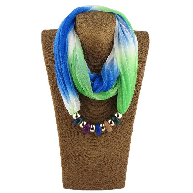 Lady's Silk Muffler Designer Scarfs Women Silk   Scarf   Necklace Resin beads Neckerchief   Scarves     Wraps