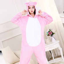 High Quality Pink Pig Onesie Kawaii Cute Animal Pajama Girls Women Adult Party Wear Suit Thicken Flannel Warm Home Sleep Costume