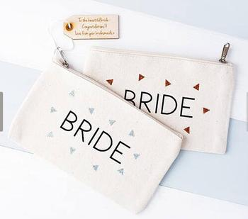custom Bridal Bridesmaid Gift Make Up comestic Bags with text tag Unique Gift for Hen Party Bags purses travel Pouches