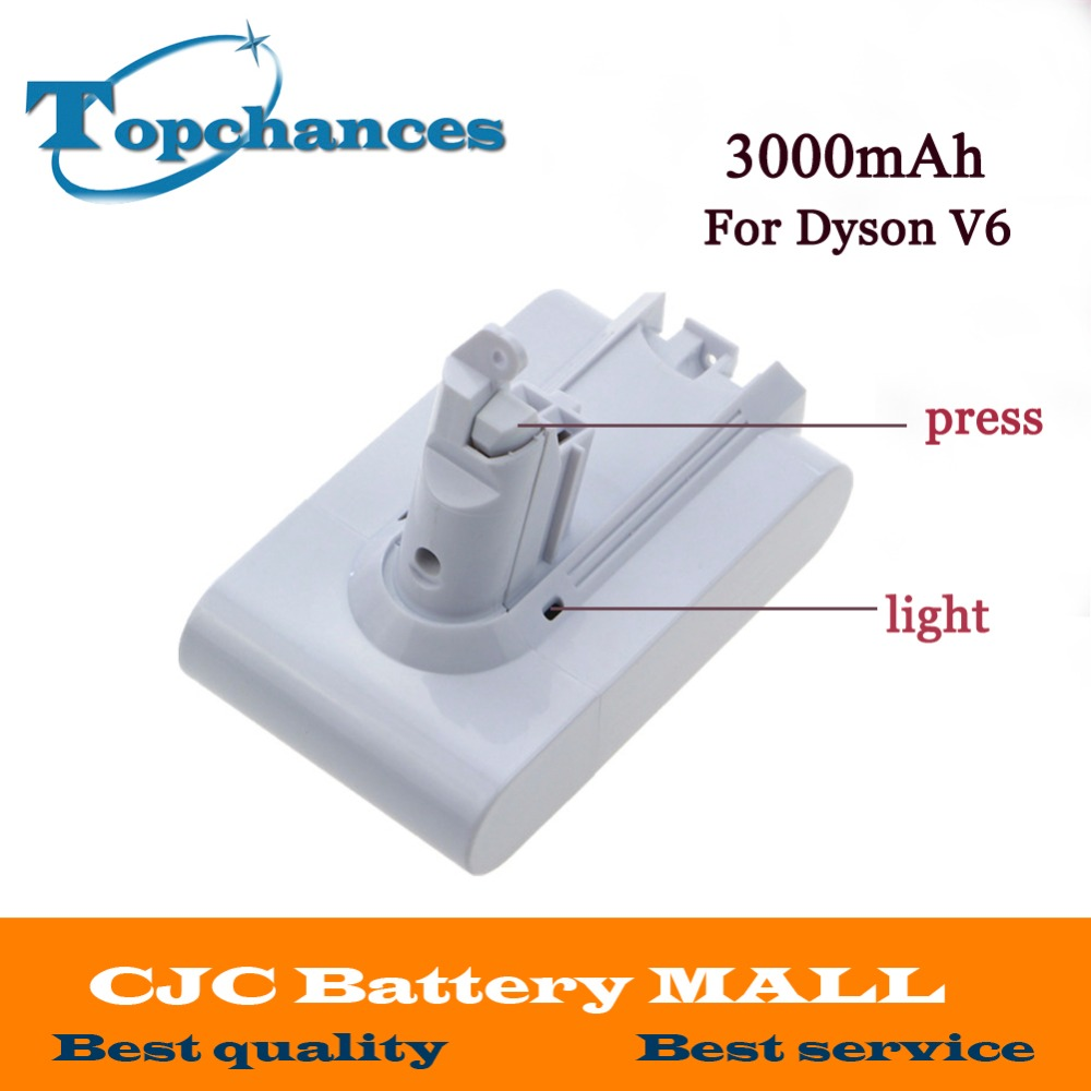High Quality 21.6V 3000mAh Li-ion Replacement Battery For Dyson V6 Mattress Cord-Free Handheld Vacuum Cleaner (White Color)  3 pcs 22 2v 2 0ah li ion eleoption new replacement vacuum cleaner battery rechargeable battery pack for dyson dc35 type b 6 cell