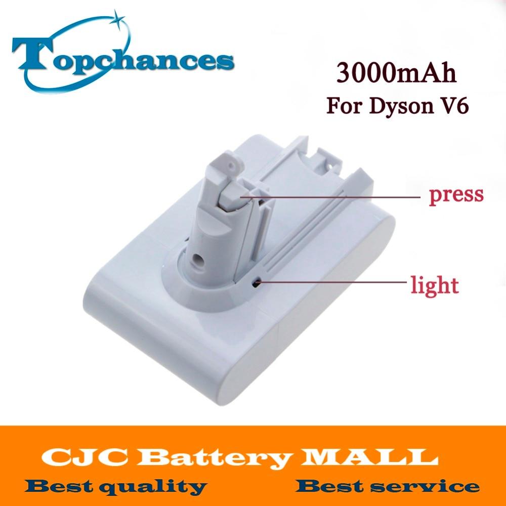 High Quality 21.6V 3000mAh Li-ion Replacement Battery For Dyson V6 Mattress Cord-Free Handheld Vacuum Cleaner (White Color) high quality 2pcs new 21 6v 2800mah rechargable li ion battery for dyson v8 vacuum cleaner
