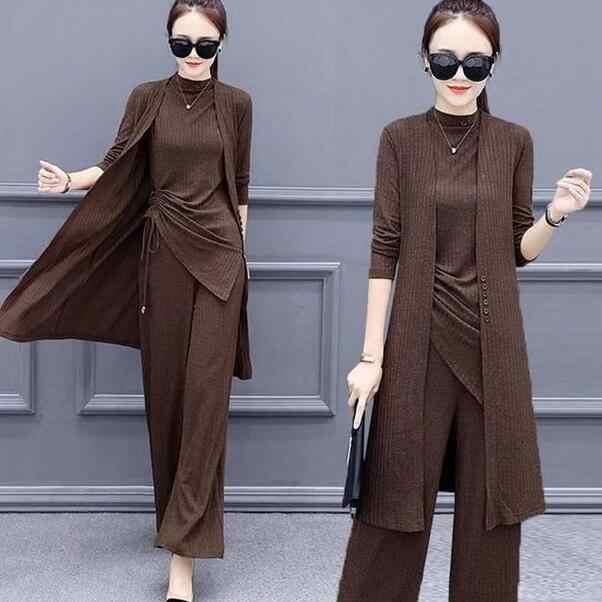 3 peças conjunto de malha feminino agasalho manga longa cardigan pulôver tops e calças largas perna terno feminino define 2020 dc67