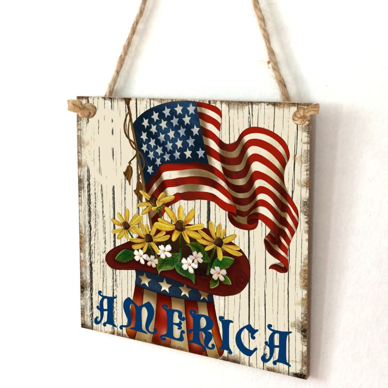 Image 2 - Vintage Wooden Hanging Plaque America Sign Board Wall Door Home Decoration Independence Day Party Gift-in Plaques & Signs from Home & Garden